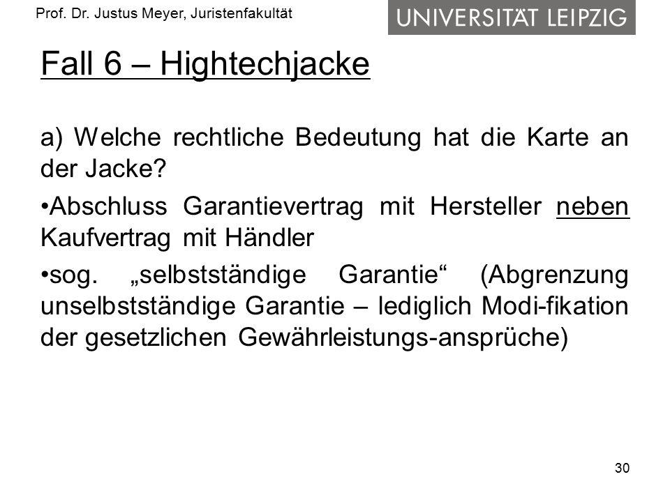 Fall 6 – Hightechjacke a) Welche rechtliche Bedeutung hat die Karte an der Jacke