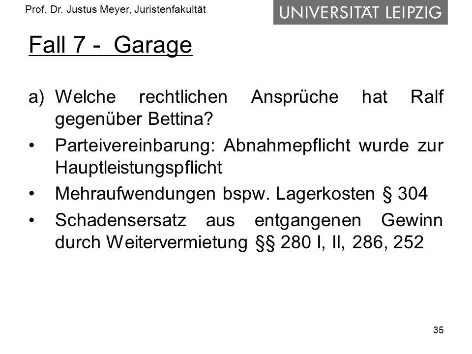 Fall 7 - Garage Welche rechtlichen Ansprüche hat Ralf gegenüber Bettina Parteivereinbarung: Abnahmepflicht wurde zur Hauptleistungspflicht.