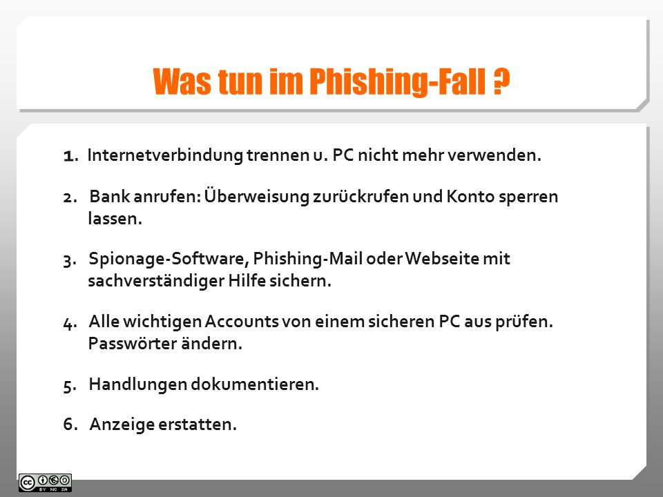 Was tun im Phishing-Fall