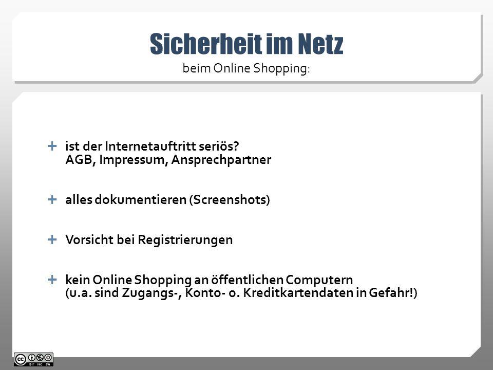 Sicherheit im Netz beim Online Shopping:
