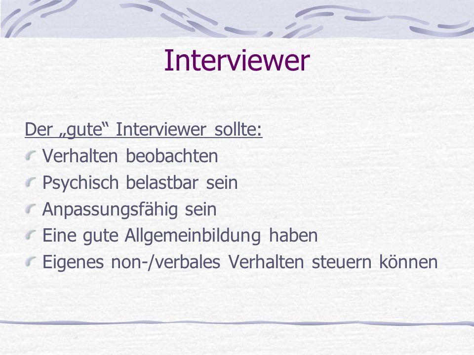 """Interviewer Der """"gute Interviewer sollte: Verhalten beobachten"""