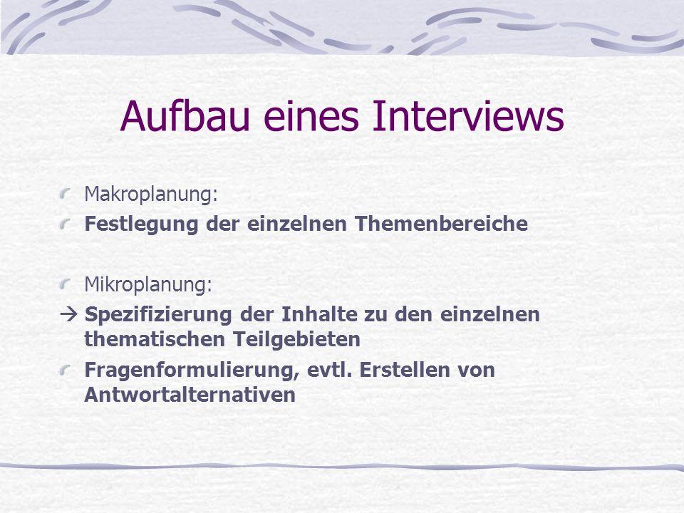 Aufbau eines Interviews