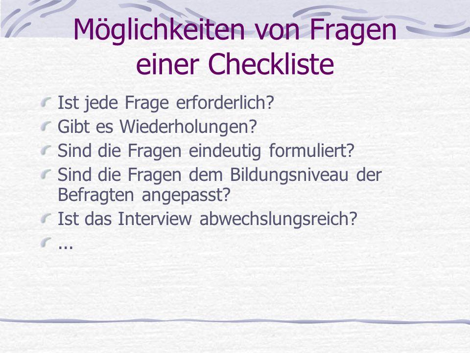 Möglichkeiten von Fragen einer Checkliste