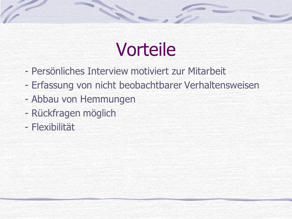 Vorteile - Persönliches Interview motiviert zur Mitarbeit