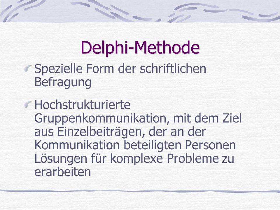 Delphi-Methode Spezielle Form der schriftlichen Befragung