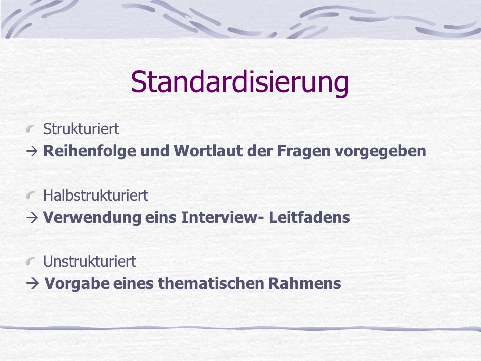 Standardisierung Strukturiert