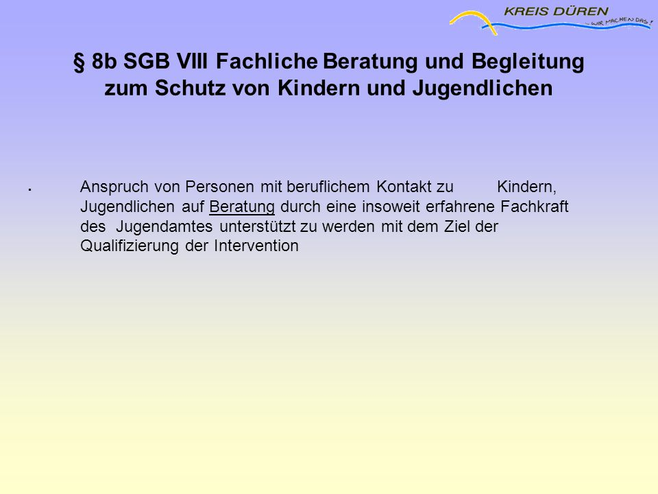 1212 § 8b SGB VIII Fachliche Beratung und Begleitung zum Schutz von Kindern und Jugendlichen.