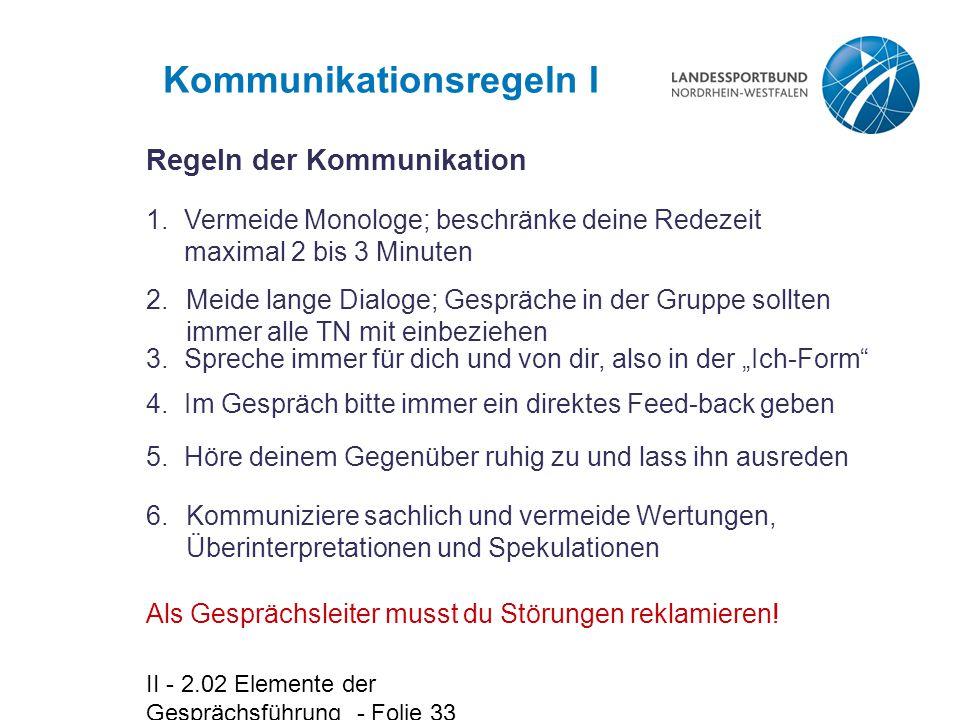 Kommunikationsregeln I