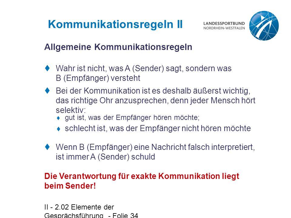 Kommunikationsregeln II