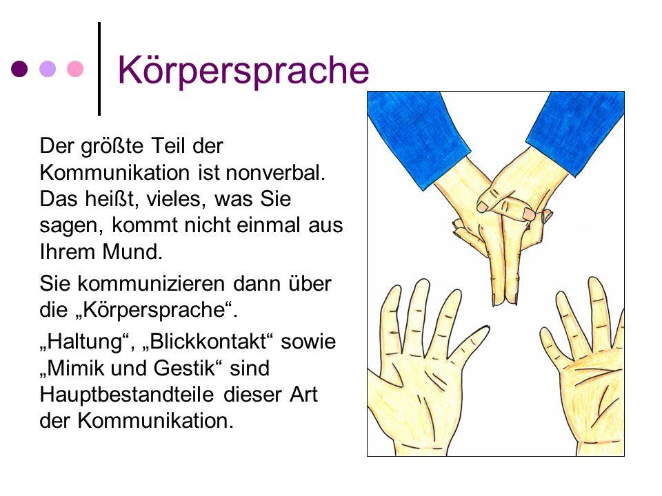 Körpersprache Der größte Teil der Kommunikation ist nonverbal. Das heißt, vieles, was Sie sagen, kommt nicht einmal aus Ihrem Mund.