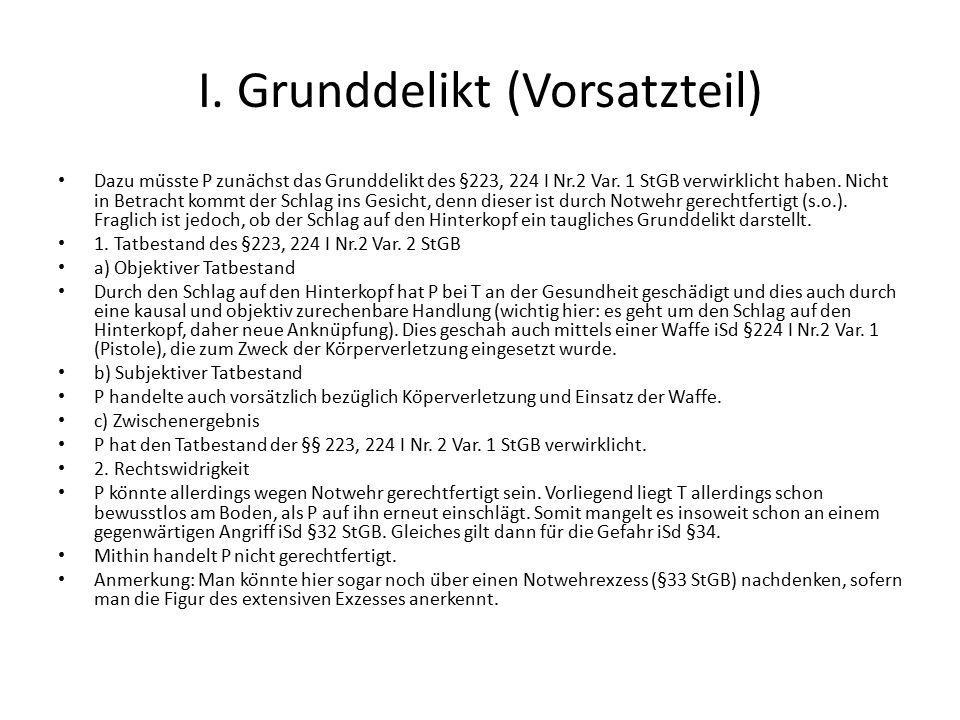 I. Grunddelikt (Vorsatzteil)