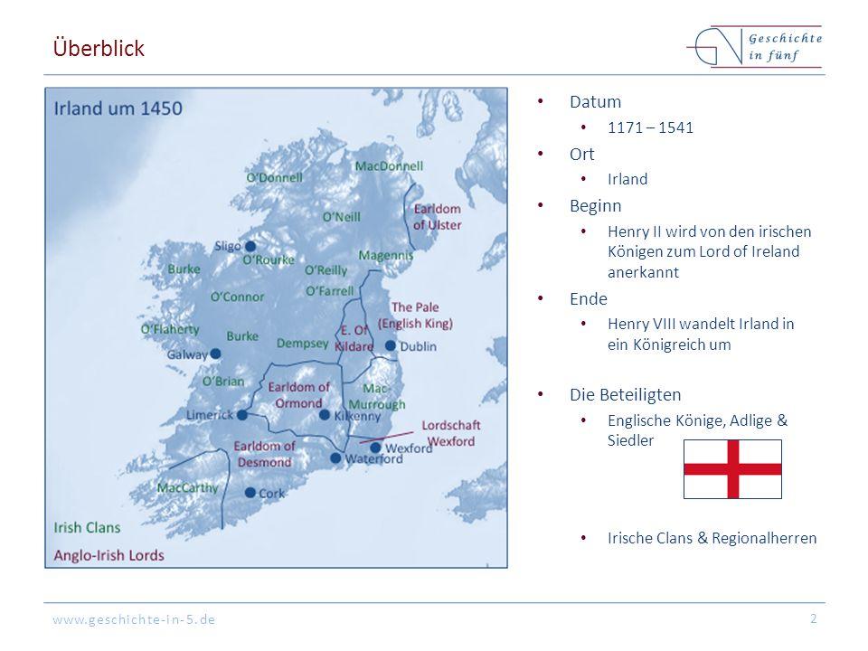 Überblick Datum Ort Beginn Ende Die Beteiligten 1171 – 1541 Irland