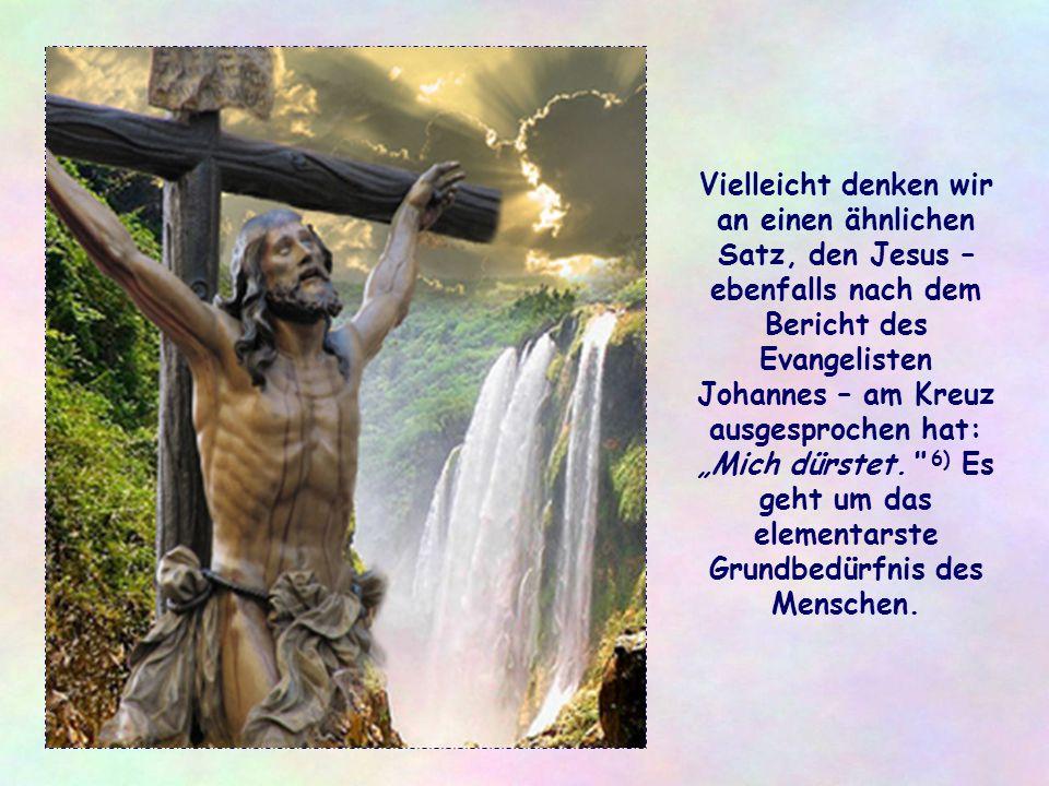 """Vielleicht denken wir an einen ähnlichen Satz, den Jesus – ebenfalls nach dem Bericht des Evangelisten Johannes – am Kreuz ausgesprochen hat: """"Mich dürstet. 6) Es geht um das elementarste Grundbedürfnis des Menschen."""