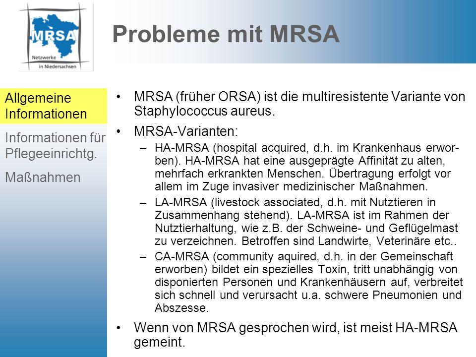 Probleme mit MRSA Allgemeine Informationen