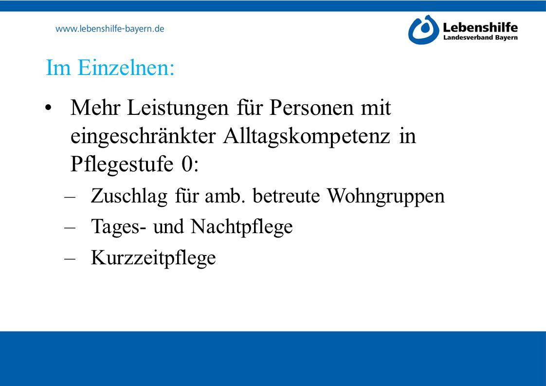 Im Einzelnen: Mehr Leistungen für Personen mit eingeschränkter Alltagskompetenz in Pflegestufe 0: Zuschlag für amb. betreute Wohngruppen.