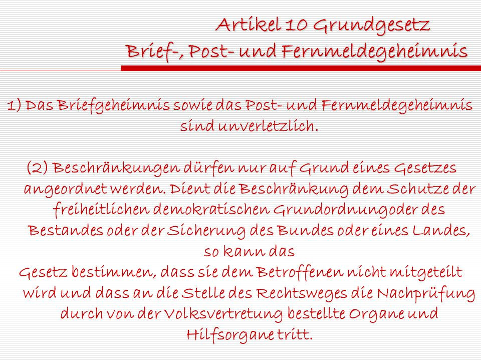 Brief-, Post- und Fernmeldegeheimnis