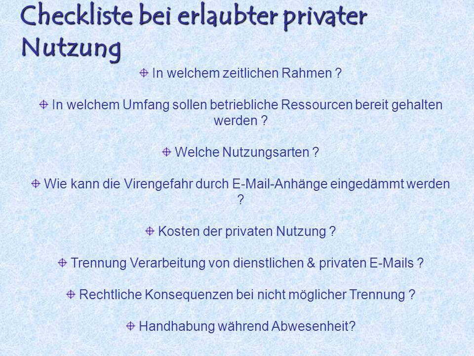 Checkliste bei erlaubter privater Nutzung