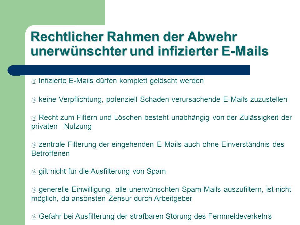 Rechtlicher Rahmen der Abwehr unerwünschter und infizierter E-Mails