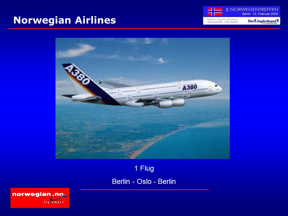 Norwegian Airlines 1 Flug Berlin - Oslo - Berlin
