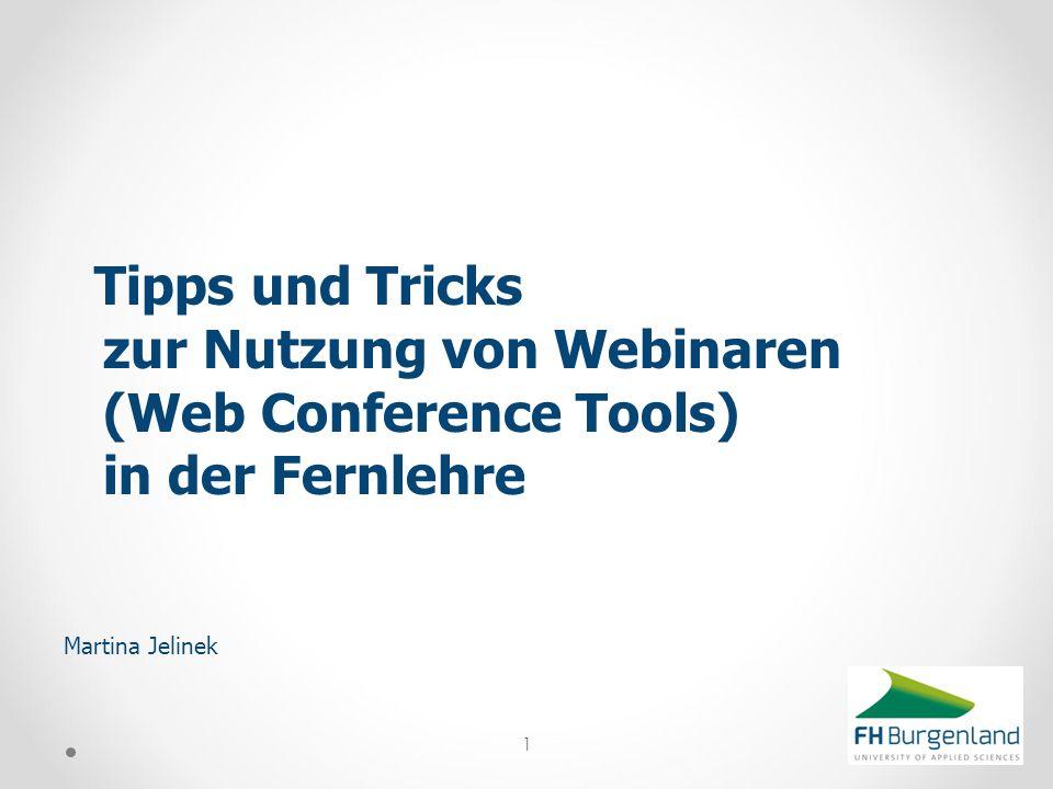 Tipps und Tricks zur Nutzung von Webinaren (Web Conference Tools) in der Fernlehre