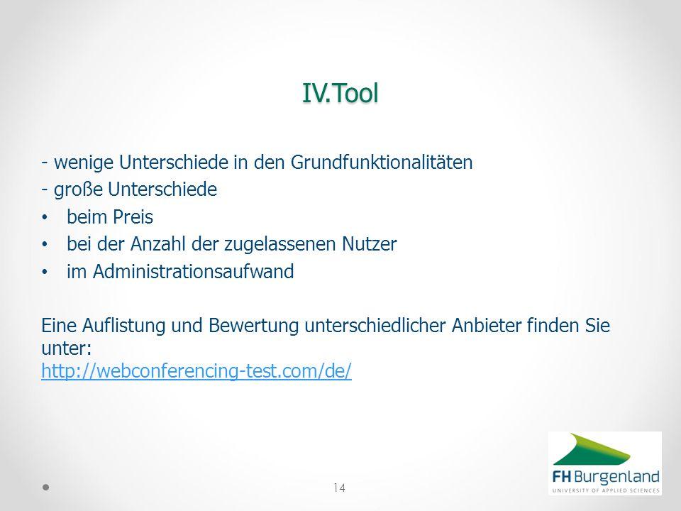 IV.Tool - wenige Unterschiede in den Grundfunktionalitäten