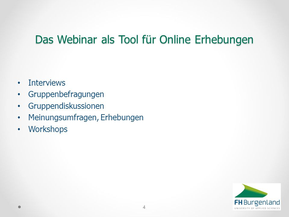 Das Webinar als Tool für Online Erhebungen