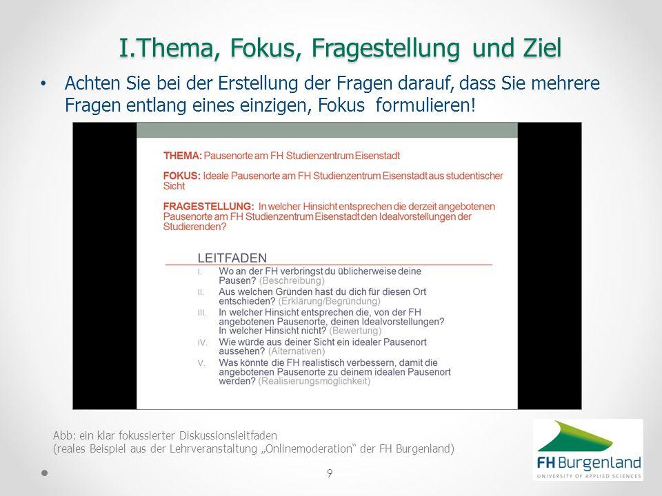 I.Thema, Fokus, Fragestellung und Ziel