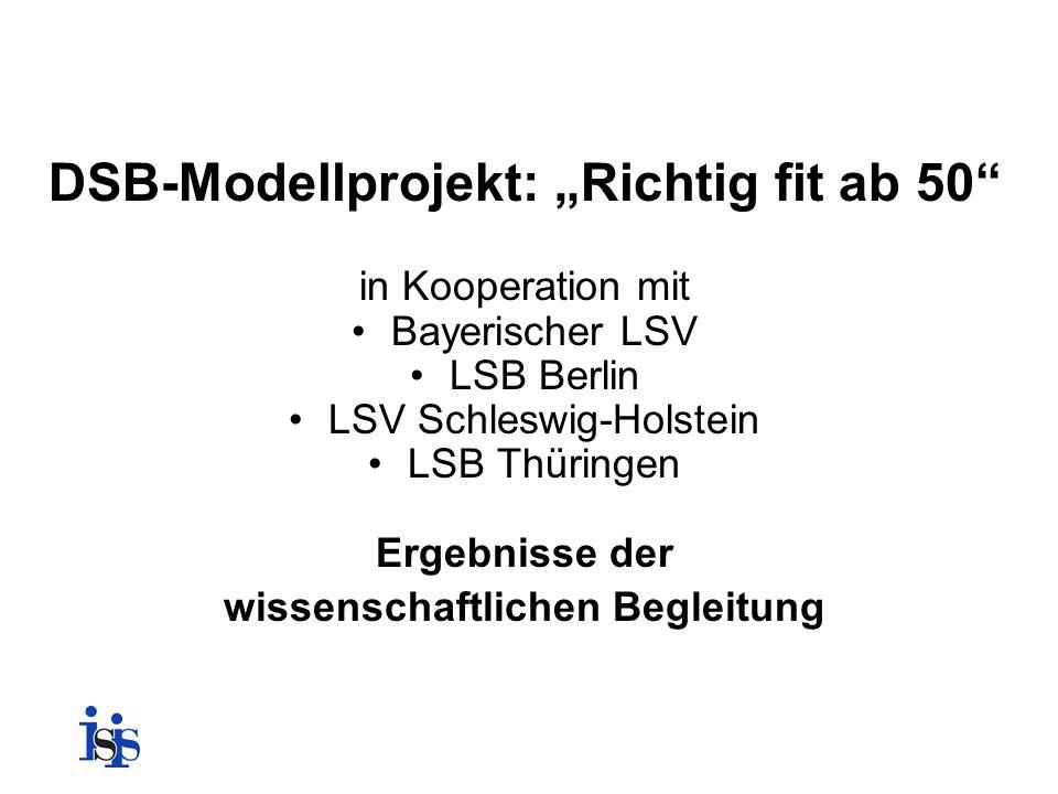 """DSB-Modellprojekt: """"Richtig fit ab 50 wissenschaftlichen Begleitung"""