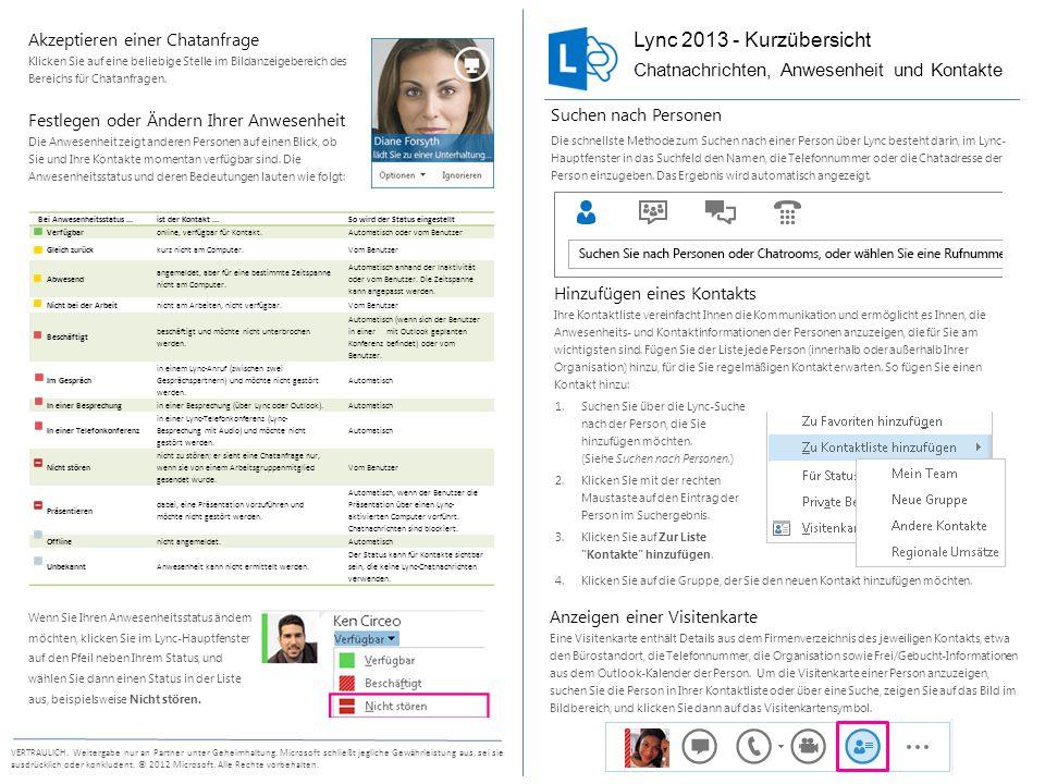 Lync 2013 - Kurzübersicht Chatnachrichten, Anwesenheit und Kontakte
