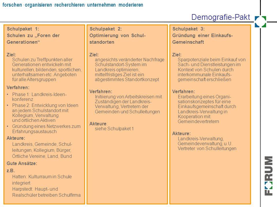 """Demografie-Pakt Schulpaket 1: Schulen zu """"Foren der Generationen"""