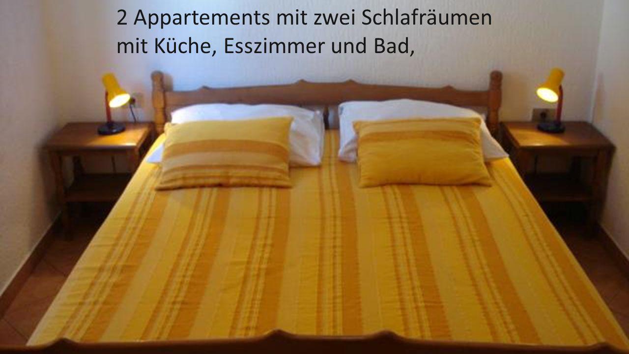 2 Appartements mit zwei Schlafräumen mit Küche, Esszimmer und Bad,