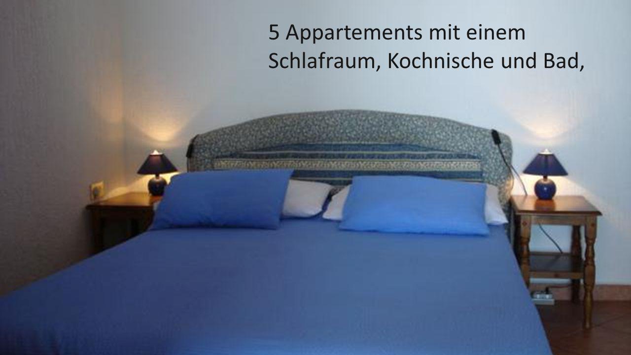 5 Appartements mit einem Schlafraum, Kochnische und Bad,