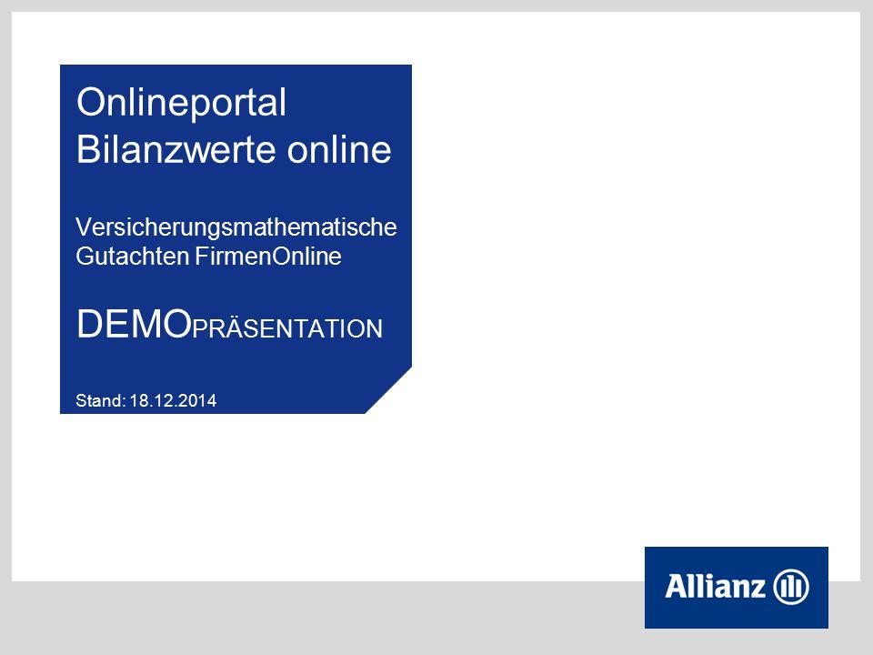 Onlineportal Bilanzwerte online Versicherungsmathematische Gutachten FirmenOnline DEMOPRÄSENTATION