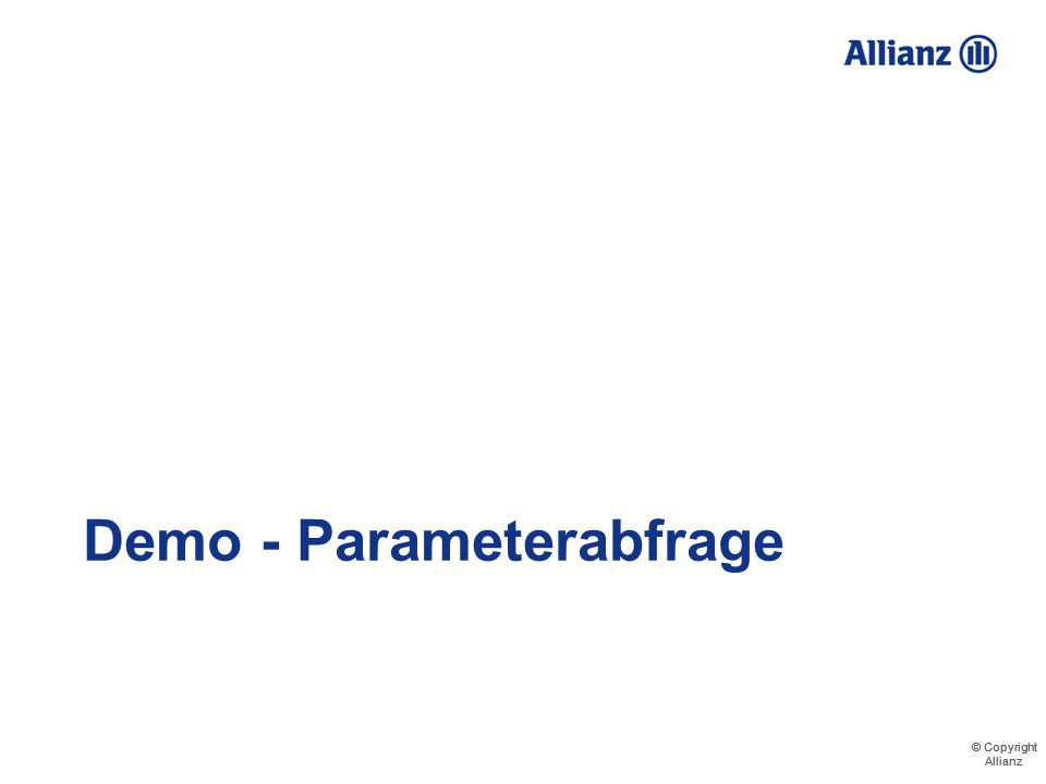 Demo - Parameterabfrage