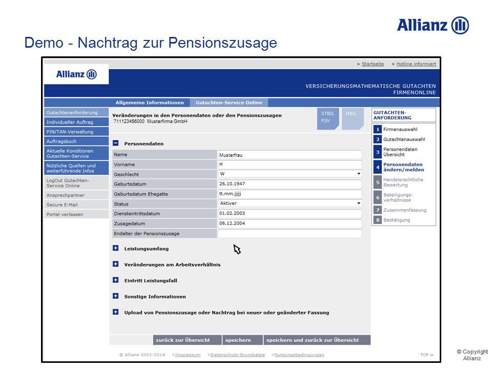 Demo - Nachtrag zur Pensionszusage