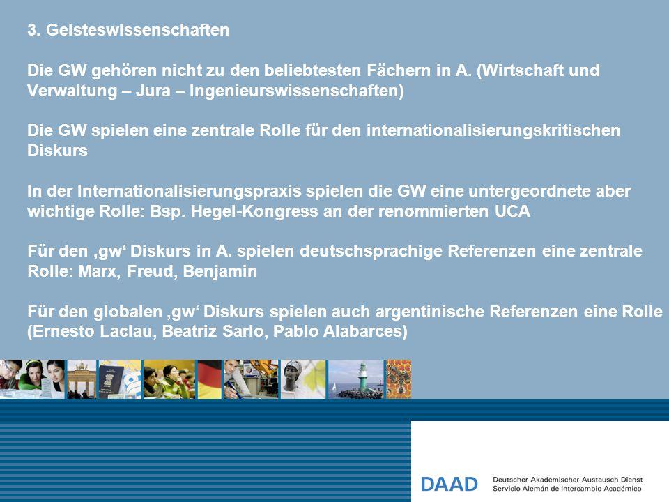 3. Geisteswissenschaften Die GW gehören nicht zu den beliebtesten Fächern in A.