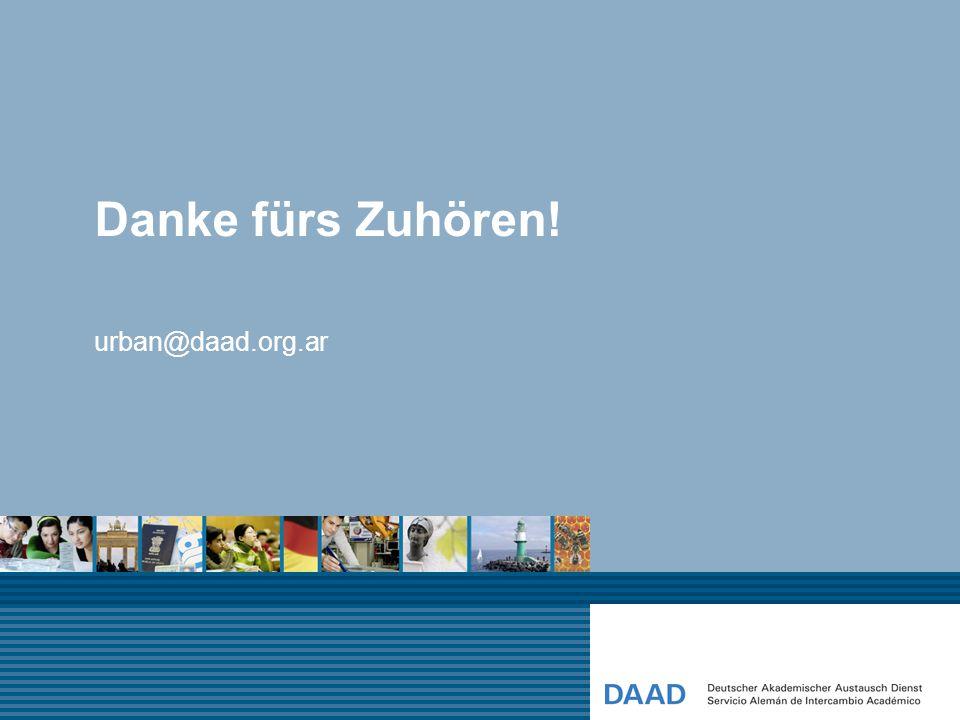 Danke fürs Zuhören! urban@daad.org.ar