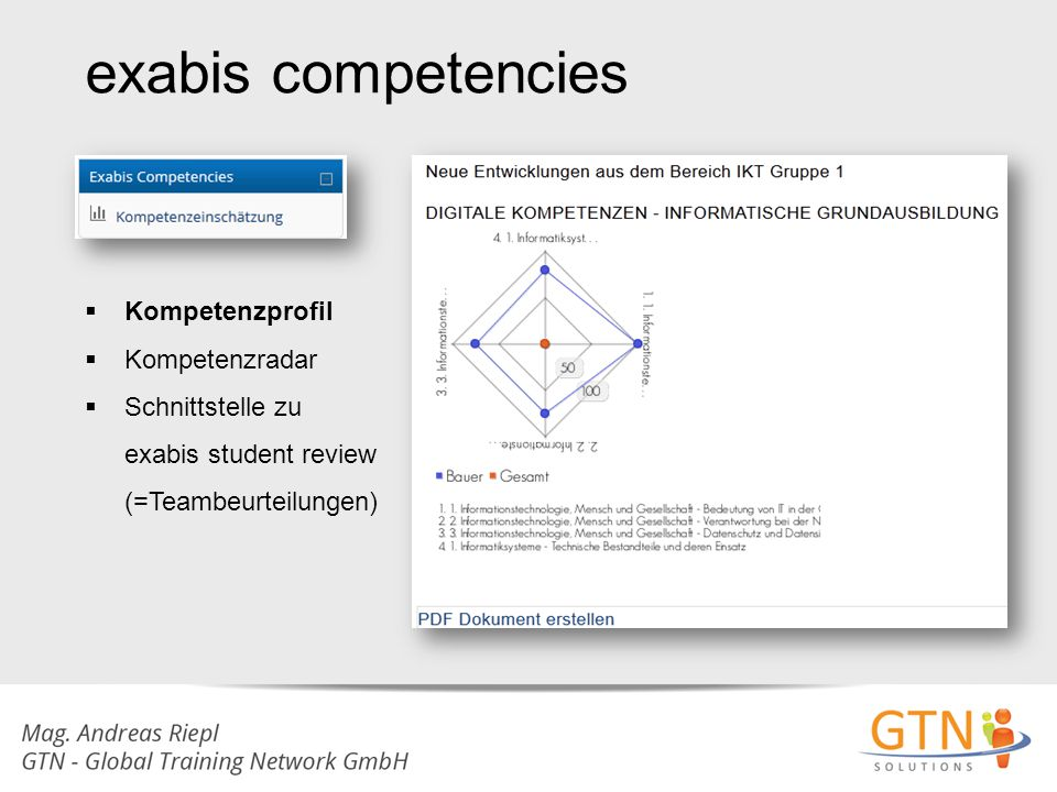 exabis competencies Kompetenzprofil Kompetenzradar