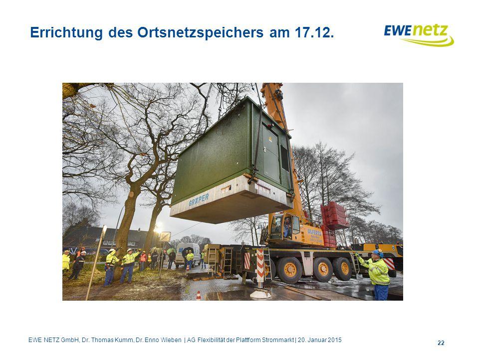 Errichtung des Ortsnetzspeichers am 17.12.