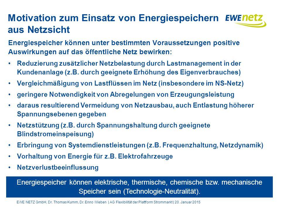 Motivation zum Einsatz von Energiespeichern aus Netzsicht