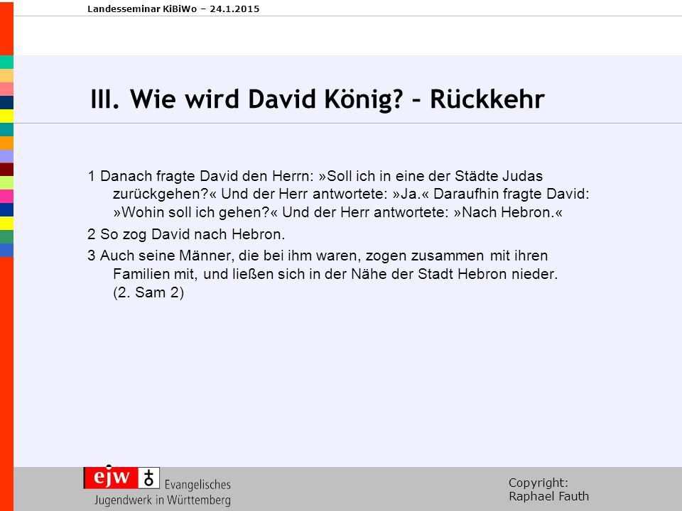 III. Wie wird David König – Rückkehr