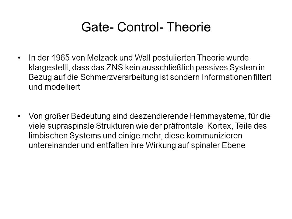 Gate- Control- Theorie