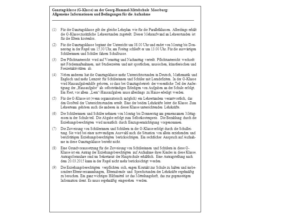 Ganztagsklasse (G-Klasse) an der Georg-Hummel-Mittelschule Moosburg: Allgemeine Informationen und Bedingungen für die Aufnahme