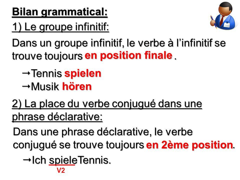 Dans un groupe infinitif, le verbe à l'infinitif se trouve toujours .