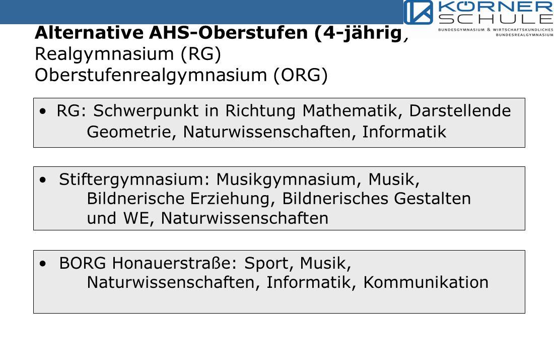 Alternative AHS-Oberstufen (4-jährig) Realgymnasium (RG) Oberstufenrealgymnasium (ORG)