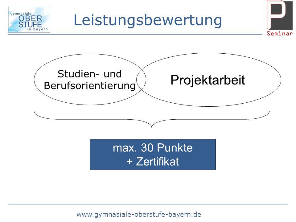 Leistungsbewertung Projektarbeit max. 30 Punkte + Zertifikat