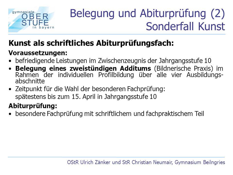 Belegung und Abiturprüfung (2) Sonderfall Kunst