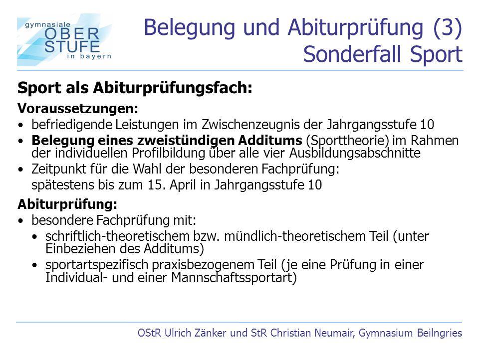 Belegung und Abiturprüfung (3) Sonderfall Sport