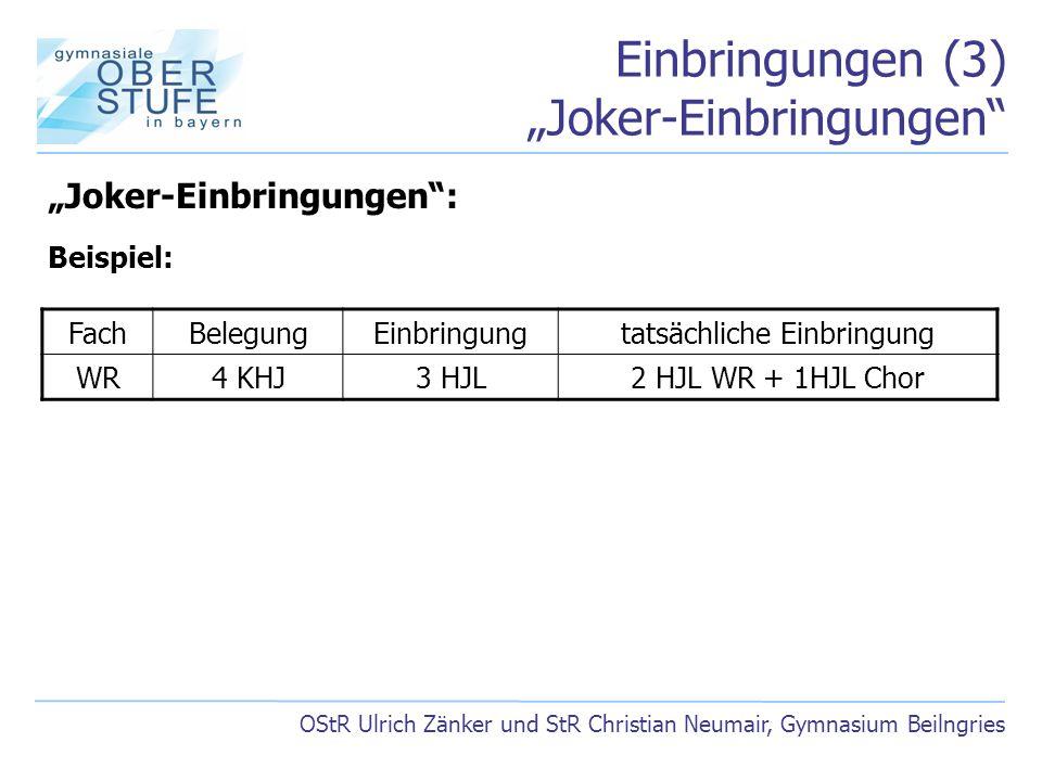"""Einbringungen (3) """"Joker-Einbringungen"""