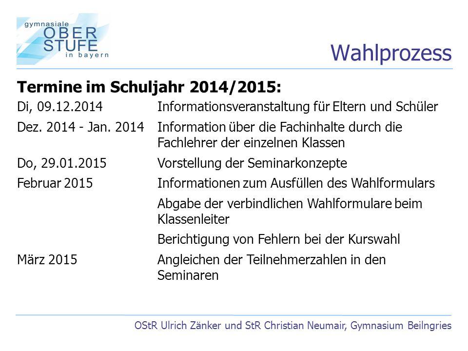Wahlprozess Termine im Schuljahr 2014/2015:
